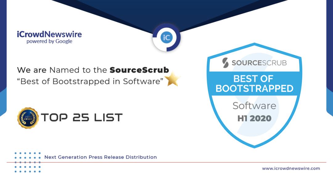 """iCrowdNewswire con tecnología de Google es incluido en la lista de los 25 principales """"Lo mejor de Bootstrapped en software"""" de SourceScrub"""